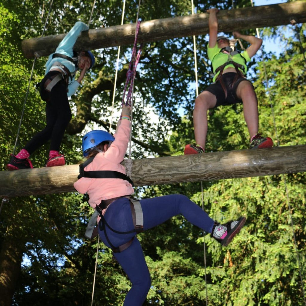 HIGH ROPES COURSE TREE TOP ADVENTURE AT RIPLEY CASTLE NEAR HARROGATE